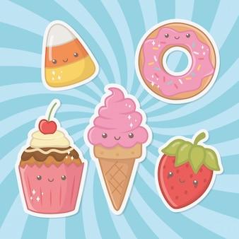 Pyszne i słodkie produkty kawaii znaków