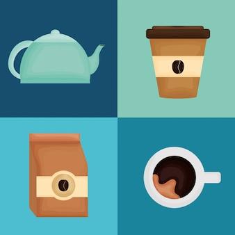 Pyszne ikony kawy i herbaty