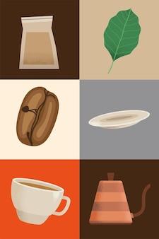 Pyszne ikony napojów kawowych