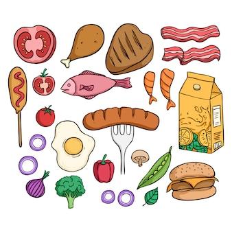 Pyszne jedzenie lunch kolekcja z kolorowym stylem