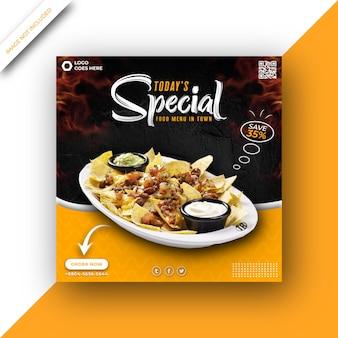 Pyszne jedzenie menu promocyjne kwadratowy szablon postu w mediach społecznościowych