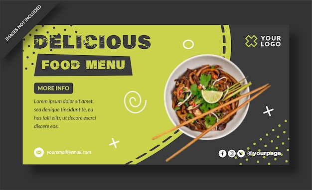 Pyszne jedzenie premium projekt banera menu