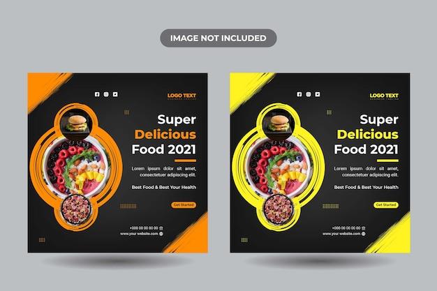 Pyszne jedzenie szablony banerów mediów społecznościowych