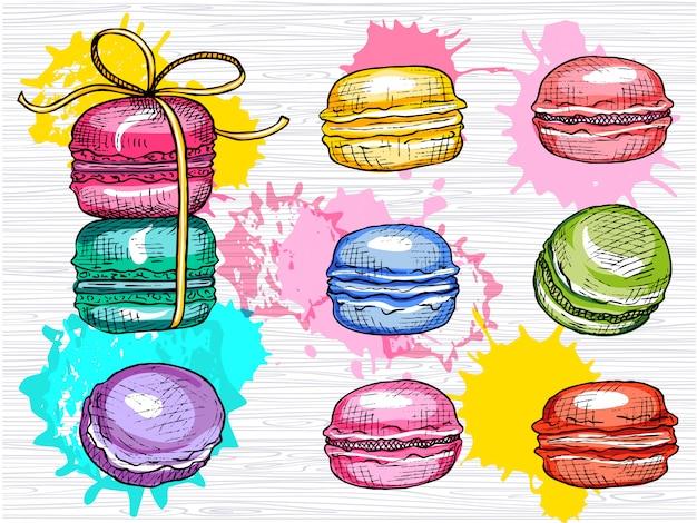 Pyszne macarons zestaw na białym tle. kolekcja kolorowych macarons. słodki, kolor, ciasta, obiad, przerwa. ręcznie rysowane ilustracji.
