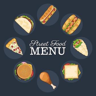 Pyszne menu fast food wokół napisów