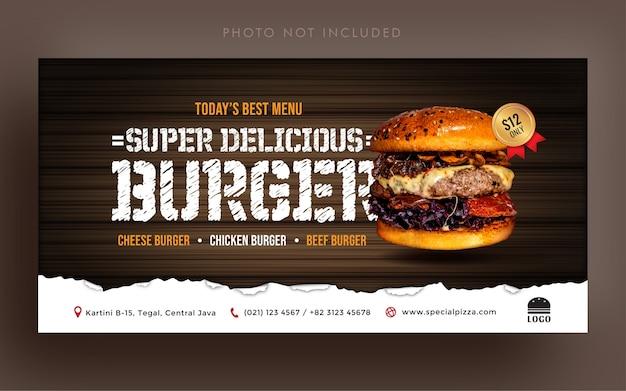 Pyszne menu promocyjne burgera w mediach społecznościowych lub szablon banera okładki internetowej