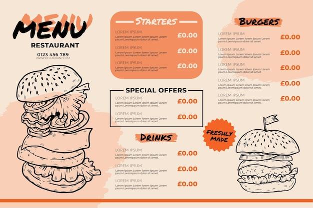 Pyszne menu restauracji burger