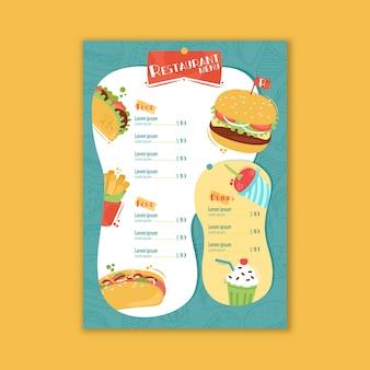 Pyszne menu restauracji fast food