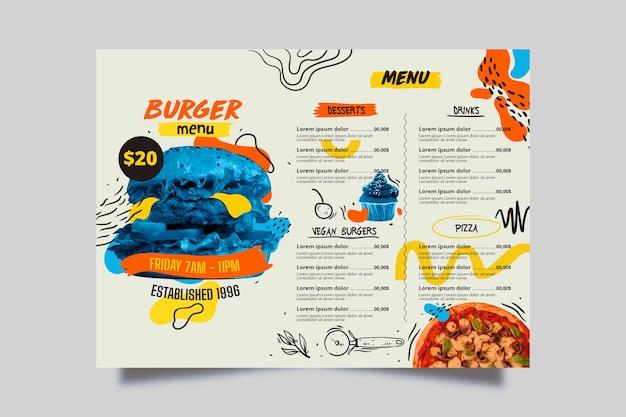 Pyszne niebieskie menu restauracji burger