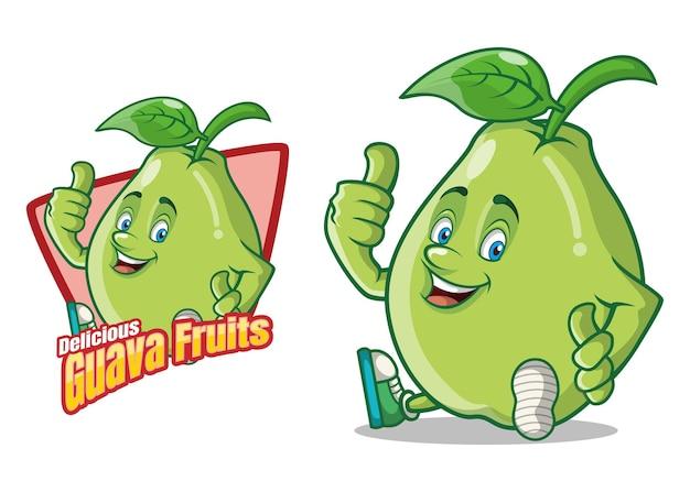 Pyszne owoce guawa kreskówka maskotka
