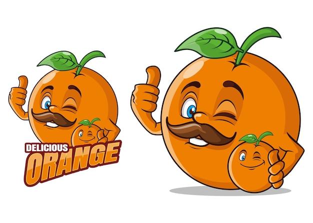Pyszne pomarańczowe owoce kreskówka