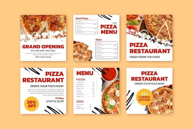 Pyszne Posty Z Pizzerii Na Instagramie Darmowych Wektorów