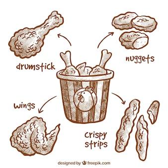 Pyszne ręcznie rysowane smażone kurczaka