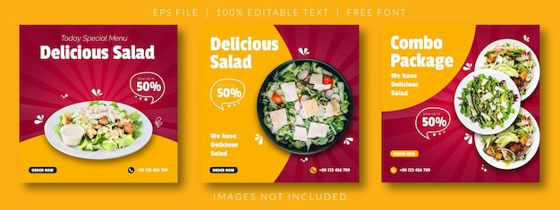 Pyszne sałatki i jedzenie szablon banera mediów społecznościowych menu
