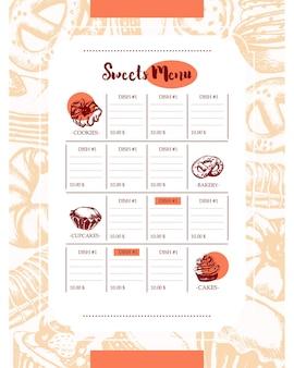 Pyszne słodycze - kolor wektor ręcznie rysowane menu szablonu kompozytowego z copyspace. realistyczne ciasto, ciasto, makaronik, rogalik, precel, ciastko, ciastko, muffinka, ekler