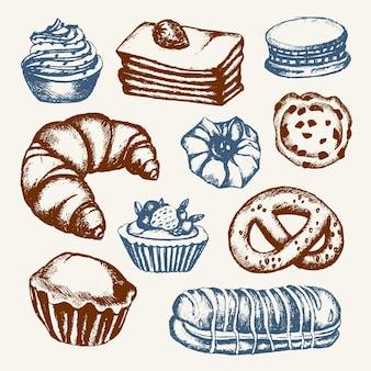 Pyszne słodycze - kolor wektor ręcznie rysowane skład ilustracyjny. realistyczne ciasto, ciasto, makaronik, croissant, precel, ciastko, ciastko z babeczką
