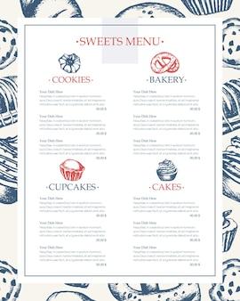 Pyszne słodycze - monochromatyczne wektor ręcznie rysowane menu szablonu kompozytowego z copyspace. realistyczne ciasto, ciasto, makaronik, rogalik, precel, ciastko, ciastko, muffinka, ekler