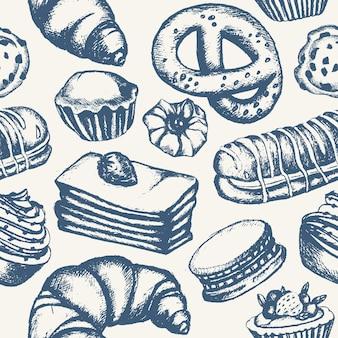 Pyszne słodycze - monochromatyczny wektor ręcznie rysowane wzór. realistyczne ciasto, ciasto, makaronik, croissant, precel, ciastko, ciastko z babeczką