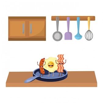 Pyszne smaczne jedzenie kreskówka