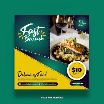 Pyszne smaczne promocyjne menu społecznościowe media post streszczenie szablon
