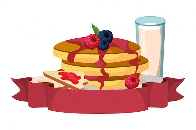 Pyszne smaczne śniadanie kreskówka