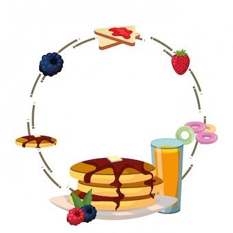 Pyszne śniadanie pyszne rama kreskówka