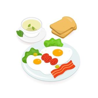 Pyszne śniadanie składało się z jajek sadzonych z paskiem bekonu i świeżych warzyw leżących na talerzu, pary kromek chleba i filiżanki gorącej zielonej herbaty. smaczne poranne jedzenie