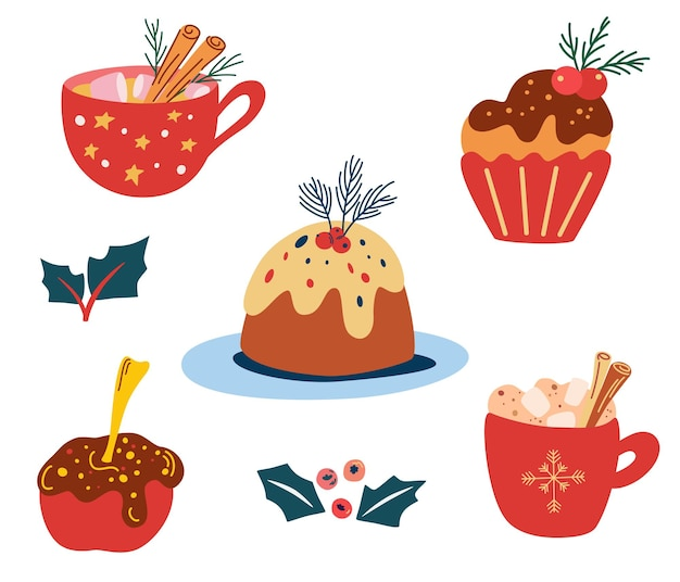Pyszne świąteczne słodycze i napoje. tradycyjne świąteczne smakołyki. zestaw świątecznych pierników, lizaków, ciast, ciast i napojów. kakao z pianką marshmallow i cynamonem. ilustracja wektorowa