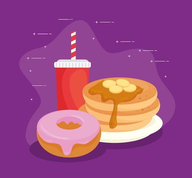 Pyszne świeże słodkie pączki i naleśniki z butelką napoju, koncepcja piekarni ciasta