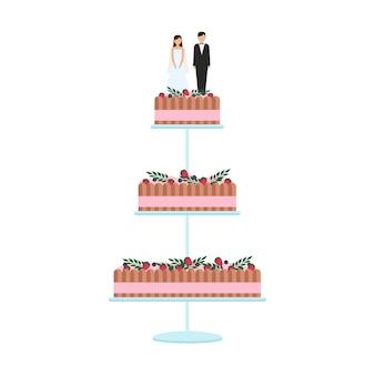 Pyszne torty weselne z dekoracją kwiatową na białym tle na białym tle. ciasto weselne z kokardkami i nakładkami panna młoda i pan młody ilustracja wektorowa