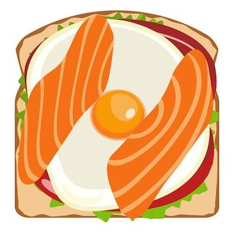Pyszne tosty z tworzeniem elementów z łososiem i jajkiem projekt graficzny ilustracji żywności