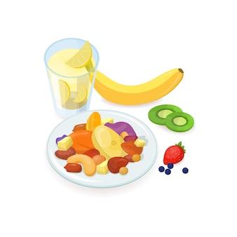 Pyszne zdrowe śniadanie składało się z orzechów i pokrojonych świeżych i suszonych owoców leżących na talerzu i szklance domowej lemoniady na białym tle. smaczne poranne jedzenie. ilustracja.