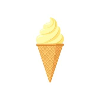 Pyszne żółte lody brulee w waniliowym smaku rożka waflowego izolowane skręcone lody na białym tle