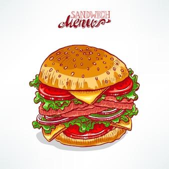 Pyszny, apetyczny hamburger. ręcznie rysowane ilustracji