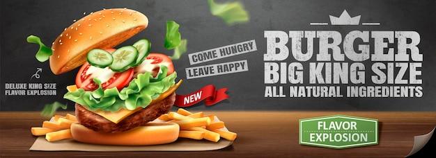 Pyszny baner hamburger i frytki