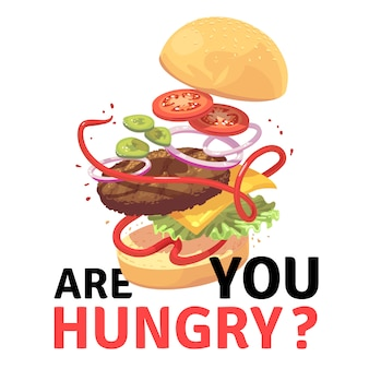 Pyszny burger. atrakcyjna latająca hamburger kreskówki ilustracja