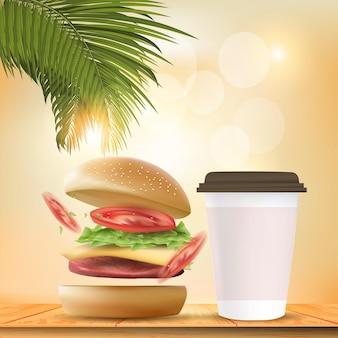 Pyszny burger. ilustracja realistyczny burger na tle bokeh.