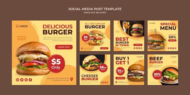 Pyszny burger szablon postu na instagramie w mediach społecznościowych dla restauracji typu fast food