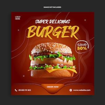 Pyszny burger z jedzeniem w mediach społecznościowych