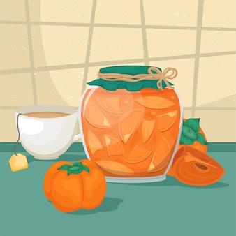 Pyszny dżem z persimmon w pięknym słoiczku.