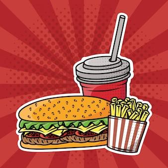 Pyszny fast-food w stylu pop-art
