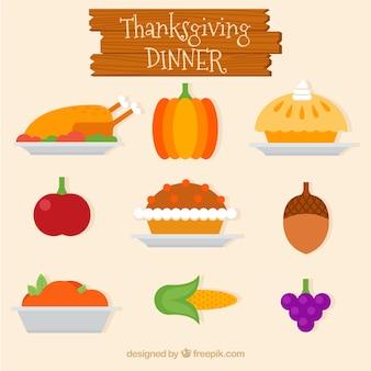 Pyszny obiad dziękczynienie w płaskiej konstrukcji