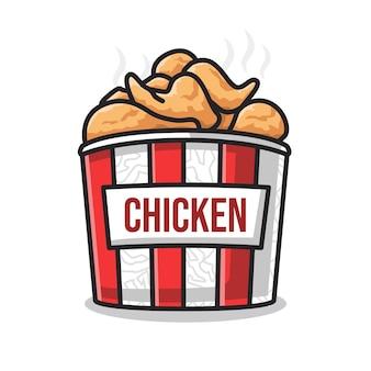 Pyszny smażony kurczak fast food w pojemniku na jedzenie w uroczej ilustracji kreskowej