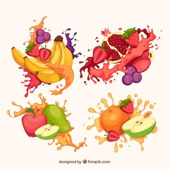 Pyszny sok rozprysków kolekcja z owocami