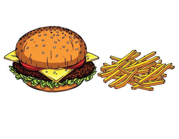Pyszny świeży burger z serem, pomidorami, sałatką i mięsem oraz frytkami ziemniaczanymi