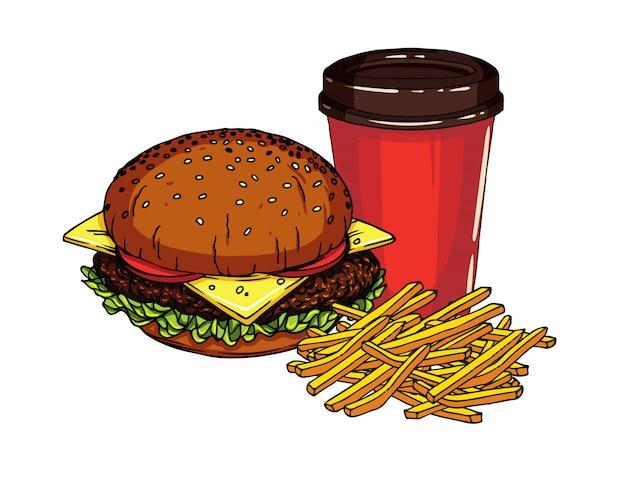 Pyszny świeży cheeseburger z frytkami i filiżanką sody