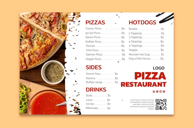 Pyszny szablon menu restauracji pizzy