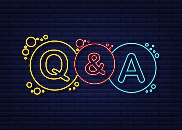Pytania i odpowiedzi bubble chat na ciemnym tle. neonowa ikona. czas ilustracja wektorowa.