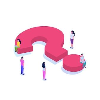 Pytanie izometryczne ikona z koncepcją postaci. ilustracja mediów społecznościowych.