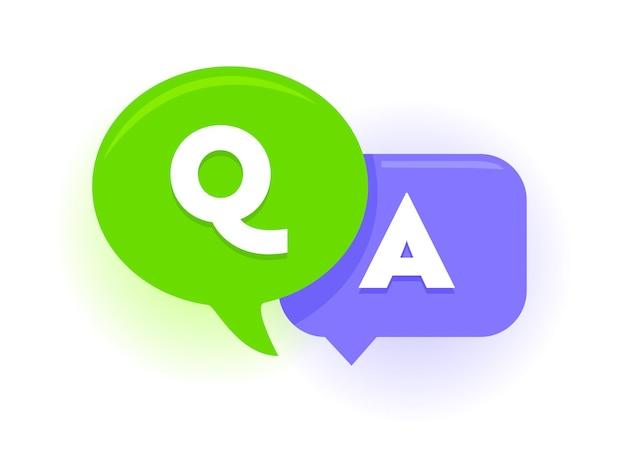 Q i a dymki, zielone i fioletowe balony koncepcja pytań i odpowiedzi. wielkie litery, często zadawane pytania, symbole czatu